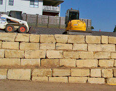 Sandstone Rock Wall Construction