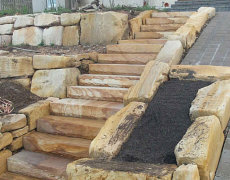 Sandstone Block Retaining Walls and Steps
